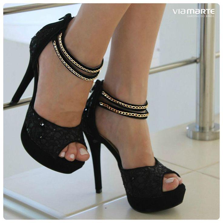 sandália de salto alto - black - high heels - party shoes - Inverno 2015 - Ref…