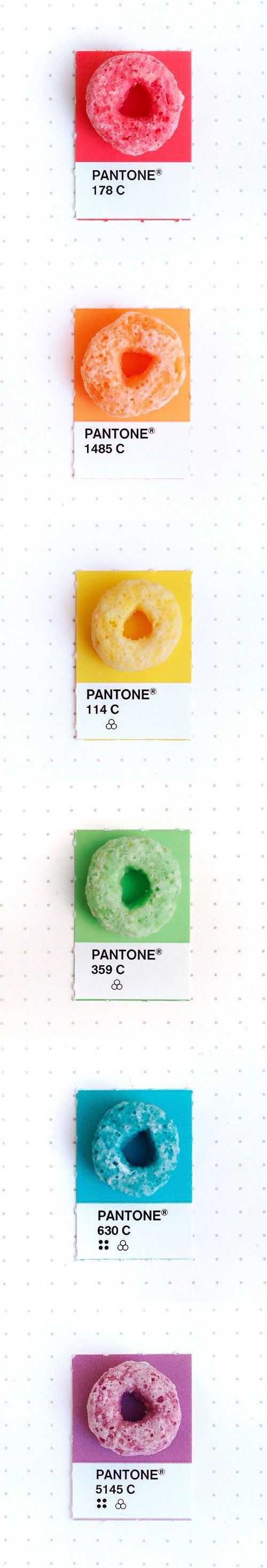 Fruit Loops, Tiny PMS Match by Inka Mathew. Mathew takes a variety of small objects and matches them to their primary Pantone colour. Source: http://tinypmsmatch.tumblr.com
