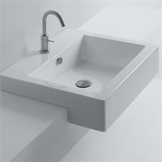 "Check out the WS Bath Collections Hox-48S-WS03801F Whitestone 18-8/9"" Semi-Recessed Bathroom Sink priced at $336.00 at Homeclick.com."