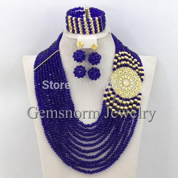 Barato Colar azul nigeriano Beads casamento africano jóias Set Costume GS505 jóias 18 K banhado a ouro navio livre, Compro Qualidade Tintas de impressão diretamente de fornecedores da China:            2015 clássico Design nigerianos casamento Beads africanos Jóias Set Bijuteria Define 18 k banhado a ouro fret