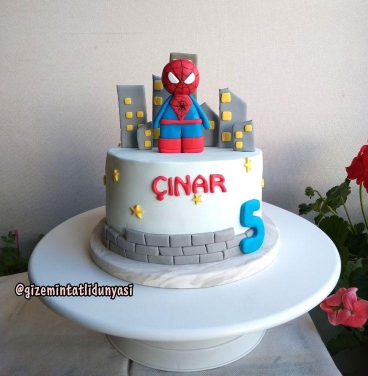 """146 Beğenme, 2 Yorum - Instagram'da Butik Pasta / Kurabiye🍪🍰 (@gizemintatlidunyasi): """"Çınar 5 Yaşında🌃#spiderman #legospiderman #spidermancake #spidermanpasta"""""""