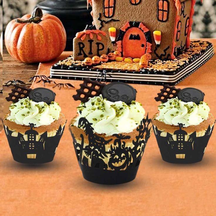 Aliexpress.com: Comprar 12 unids/lote de Halloween / bruja / castillo Laser Cut Cupcake Wrappers Liners decoraciones del partido de decoración del partido temas fiable proveedores en Our Warm Store