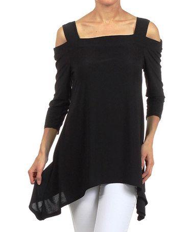 Another great find on #zulily! Black Cutout Sidetail Top - Women & Plus by Karen T. Design #zulilyfinds