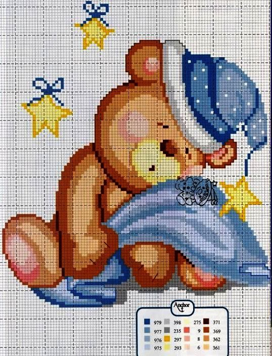 Sleeping bear x-stitch