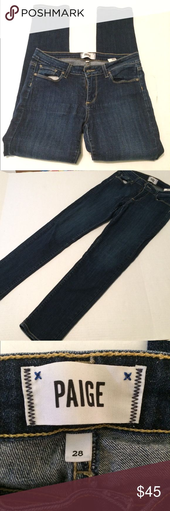 PAIGE Skyline Ankle Peg Jeans! PAIGE Skyline Ankle Peg Jeans! Size 28 with a 28 inch inseam.  Gently used condition with plenty of life left for a new home!  Dress these up for a night out with the girls, or go for the casual look for a day outing.  Dark denim wash color. PAIGE Jeans