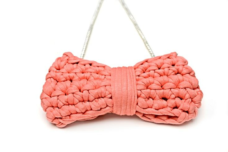 Maccheron Crochet Bow Necklace (salmon) - Designed and handmade with ♥ ...in Budapest ...by me :-) Like my page on FB: www.facebook.com/Maccheron