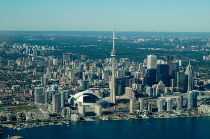 Aerial view of the CN Tower, downtown core, lake