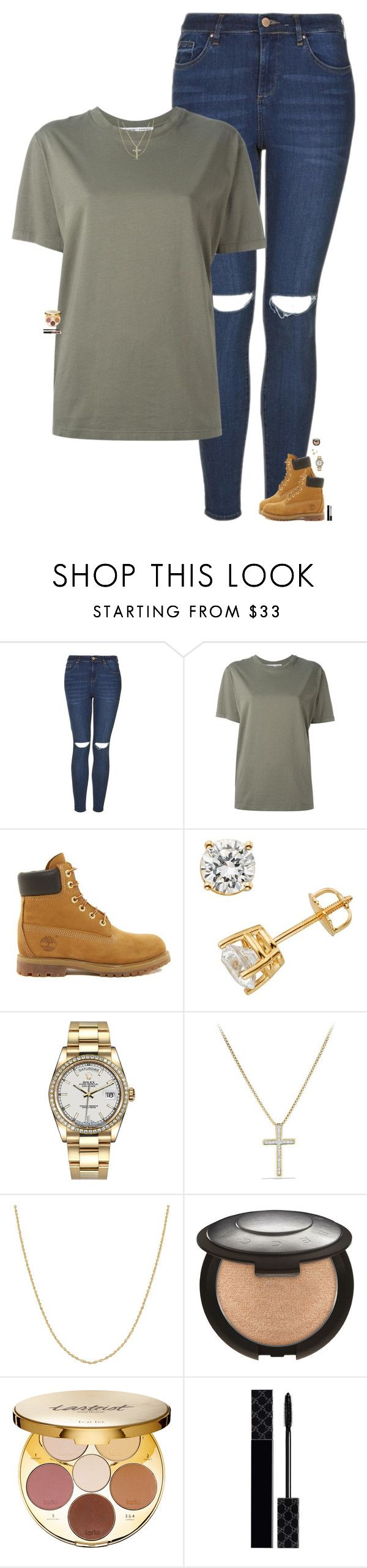 """""""why does what people think of you matter if you're happy the way you are?"""" by maggie-prep ❤ liked on Polyvore featuring Topshop, Katharine Hamnett, Timberland, Rolex, David Yurman, Fremada, tarte and Gucci"""
