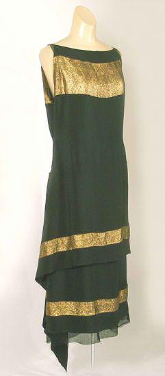 Callot Soeurs dress silk with bands of gold lamé, c.1924