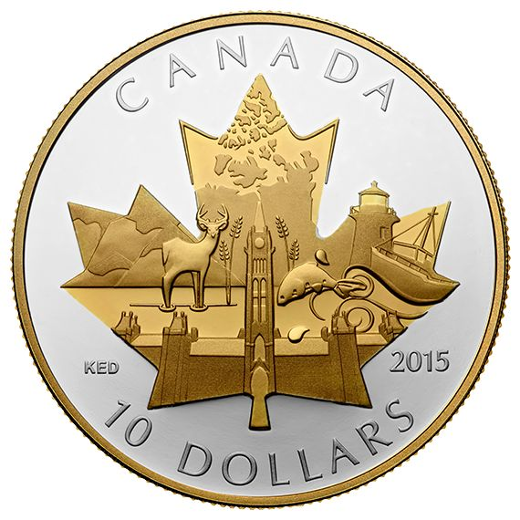 1/2 oz. Fine Silver Gold-Plated Coin - Celebrating Canada - Mintage: 8,000 (2015)