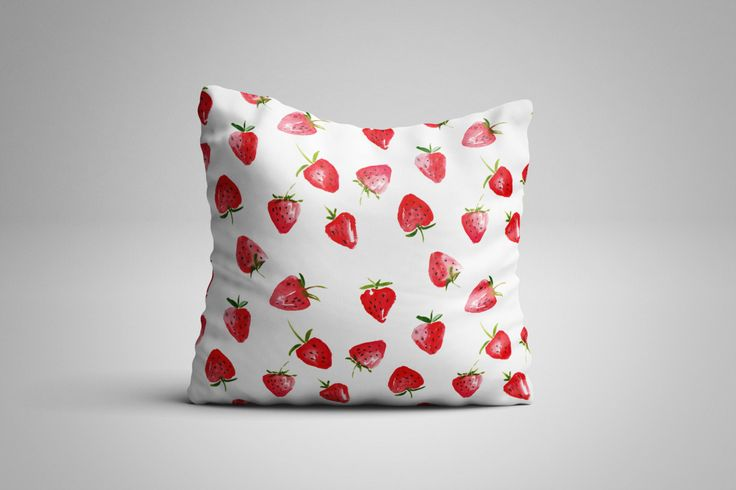 Strawberries Cushion. 12 x 12 inch Cushion by NJsBoutiqueCo on Etsy