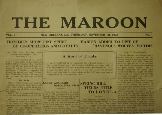 First issue of The Maroon in 1923 Source Loyola Archives