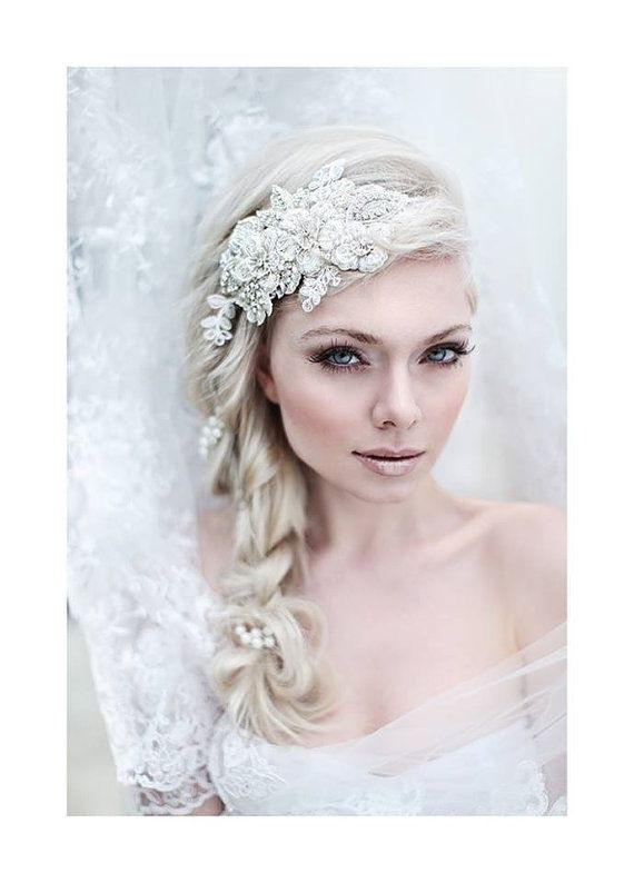 My Enchanting Miriam bridal hairpiece - Shimmering hair piece with flowers, crystals, lace and pearls