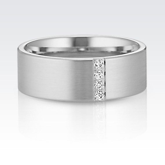 Four Round Diamonds Give This Classic Mens Wedding Band Sophisticated Sparkle ShaneCo