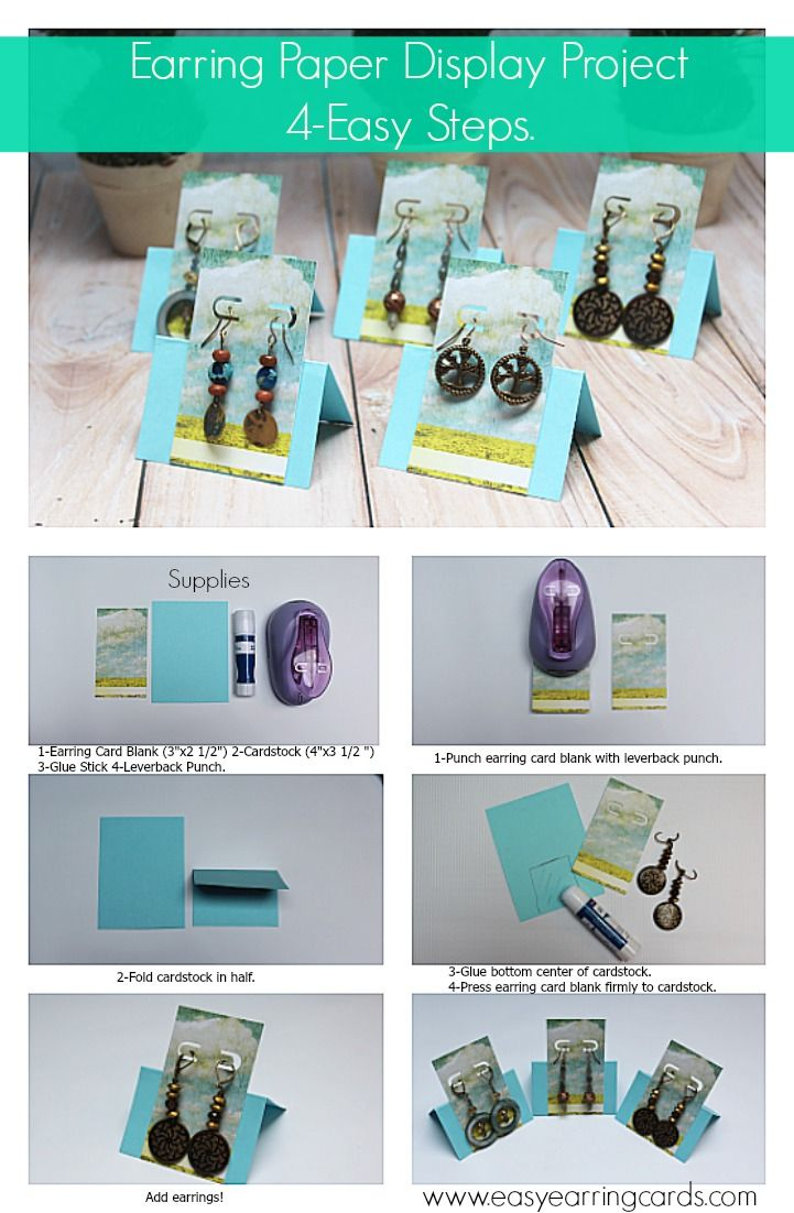 Create earring card displays. Great for craft shows displays or as favors for weddings,showers or parties.