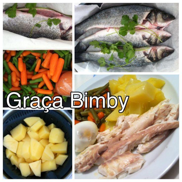 Cozinhar em pirâmide 2 em 1- refeição completa Robalos com legumes e ovo na varoma e batatas no cesto.   O peixe cozinhado a vapor fica del...