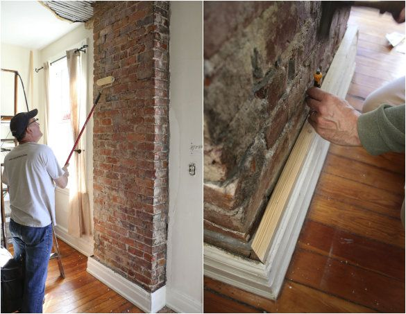 Before After Exposing A Brick Chimney Under Plaster Walls 17 Apart Exposed Brick Kitchen Exposed Brick Brick Flooring