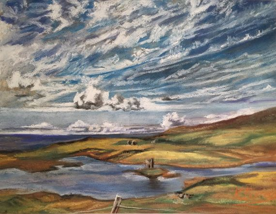Uist Lagoon and Folly Hebrides Fine Pastel Art by FinePastelKB