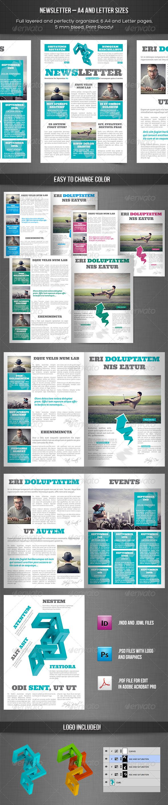 Newsletter vol. 10 – Indesign Template #GraphicRiver Newsletter vol. 10 Indesign A4 Template Made in Adobe InDesign CC 6 pages (A4) INDD (CC) and IDML (CS4 and later) files included 5mm bleed Print ready Easy to edit Separated Layers (text, master pages, photos…) Logo included!