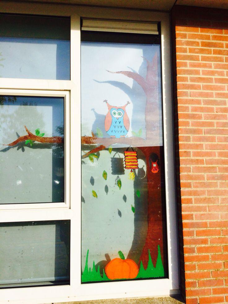 Window painting fall ~ raamschildering herfst @ school