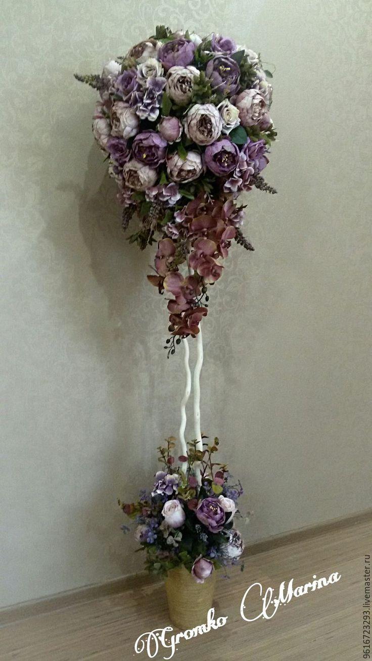 Купить Итерьерное винтажное дерево - комбинированный, пионы, розы, для интерьера гостиной, подарок, искусственные цветы