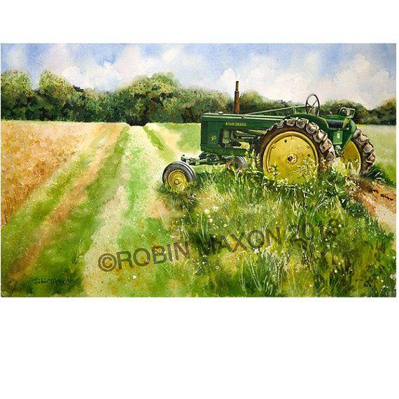 John Deer Tractor Watercolor Painting By Robin Maxon