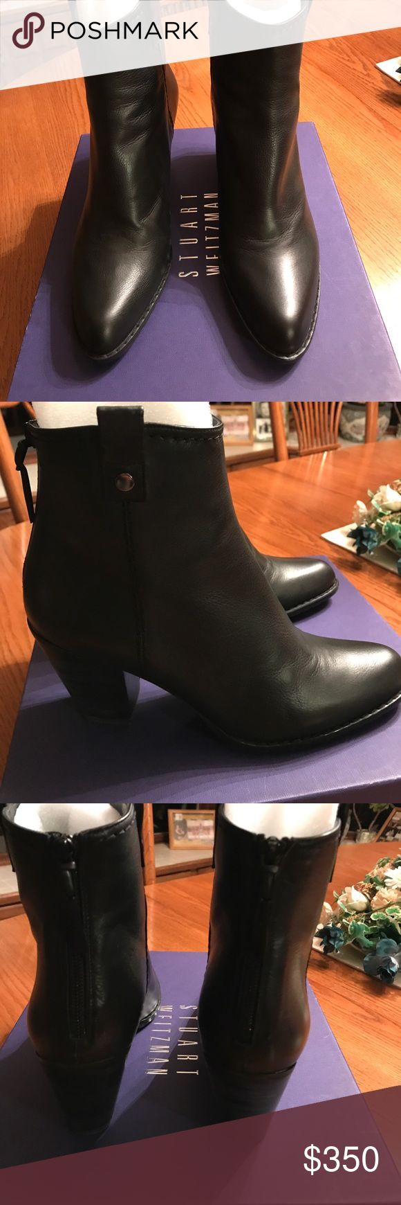 Stuart Weitzman boots Beautiful SW black leather boots! Heel approximately 3 inches!  New, never worn! Back zippers for easy pull on and off! Stuart Weitzman Shoes Ankle Boots & Booties