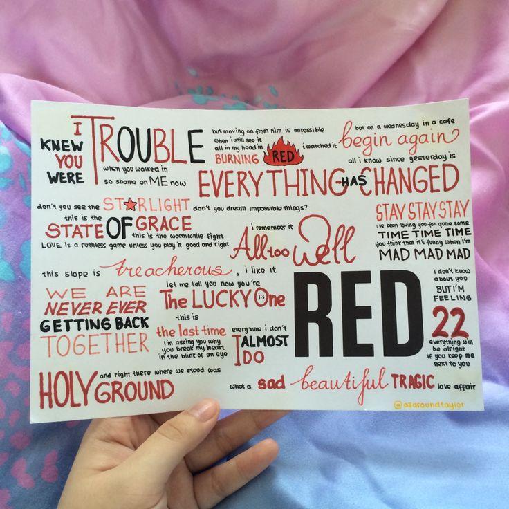 RED by Taylor Swift album lyrics, hand drawn by http://allaroundtaylor.tumblr.com/.