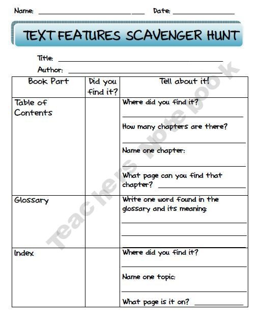 Text Features Scavenger Hunt Worksheet Free Worksheets Library – Nonfiction Text Features Worksheet