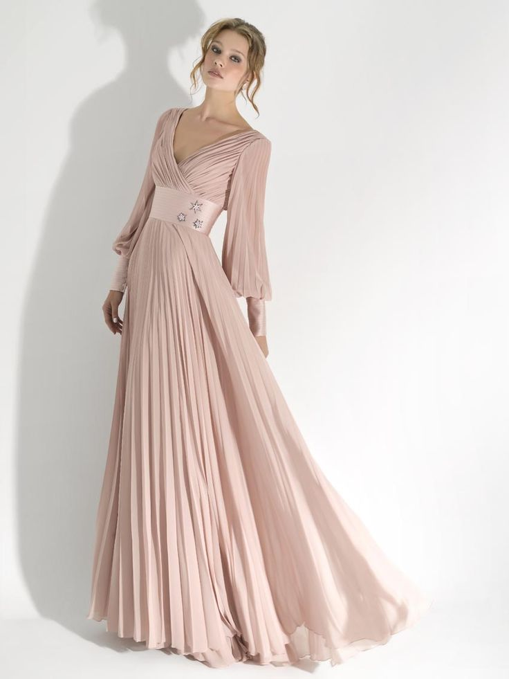 Long Sleeve Sequin Evening Dresses | ... Pink Long Sleeve V-neck Draped Floor Length Evening Dress with Ribbon