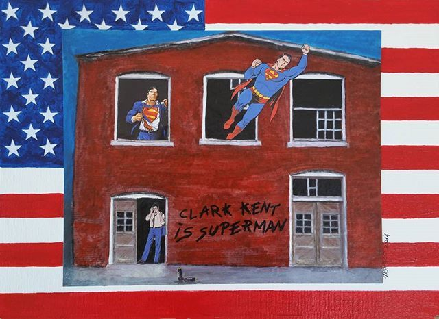 Revelation identity (Broken Windows series) 2014 cm 25x35 #inkonpaper #acryliconpaper #pencilonpaper #collageonpaper #comics #superman #superhero #illustration #drawing #monacoart #identity #americanflag #monacoart #workonpaper #brokenwindows #paperpaint #paperart #detournement
