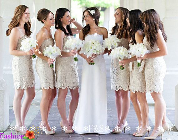 Lace bridesmaid dress champagne bridesmaid dress short for Champagne lace short wedding dress