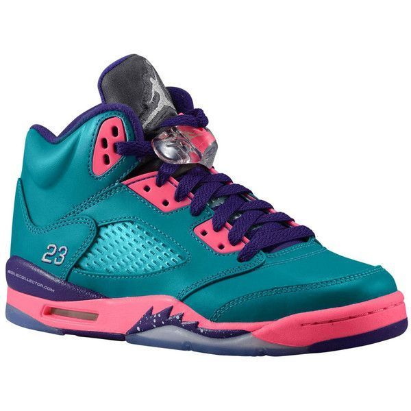 buy online b74e8 a79c1 Release Date Air Jordan 5 Retro GS Teal Pink-Purple ❤ liked on Polyvore  featuring shoes, jordans, sneakers and shoe game