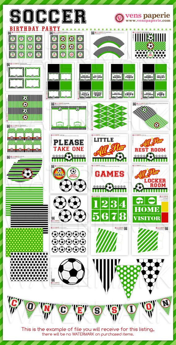Soccer Birthday Party Package Personalized FULL by venspaperie, $35.00
