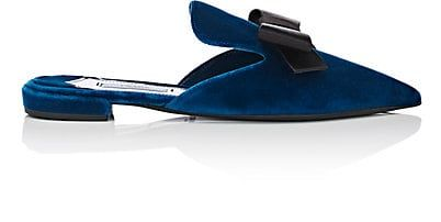 Women's Bow-Embellished Velvet Mules - Pointed toe. Velvet-covered heel. Slips on. Lined with smooth leather. Leather sole. Available in Cobalto (blue)/Black. Made in Italy.