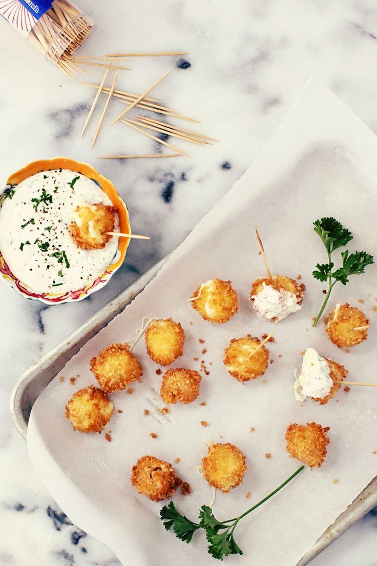Mini Mozzarella Sticks with Jalapeno Ranch Dip @ Foodess.com