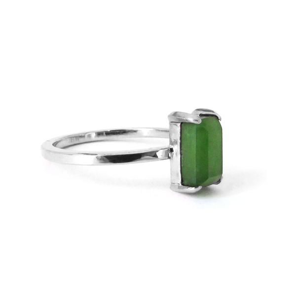 Emerald Cut Wedding/Engagement Ring Pounamu + Sterling Silver greenstone