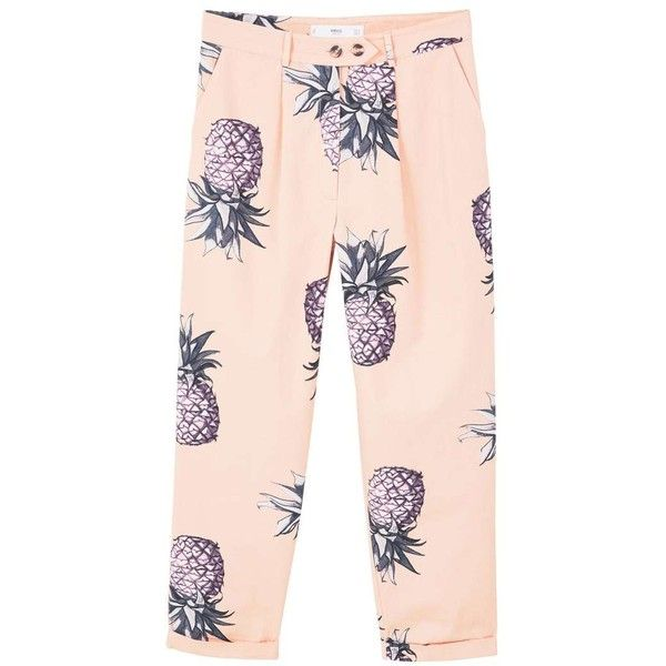 MANGO Printed cotton trousers (96 CAD) ❤ liked on Polyvore featuring pants, capris, trousers, pineapple pants, zipper pants, cropped capri pants, cotton crop pants and cuff pants
