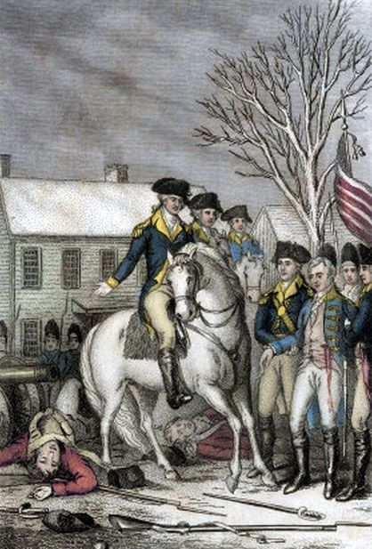 The surrender to General George Washington of the dying Hessian commander, Colonel Rahl, at the Battle of Trenton
