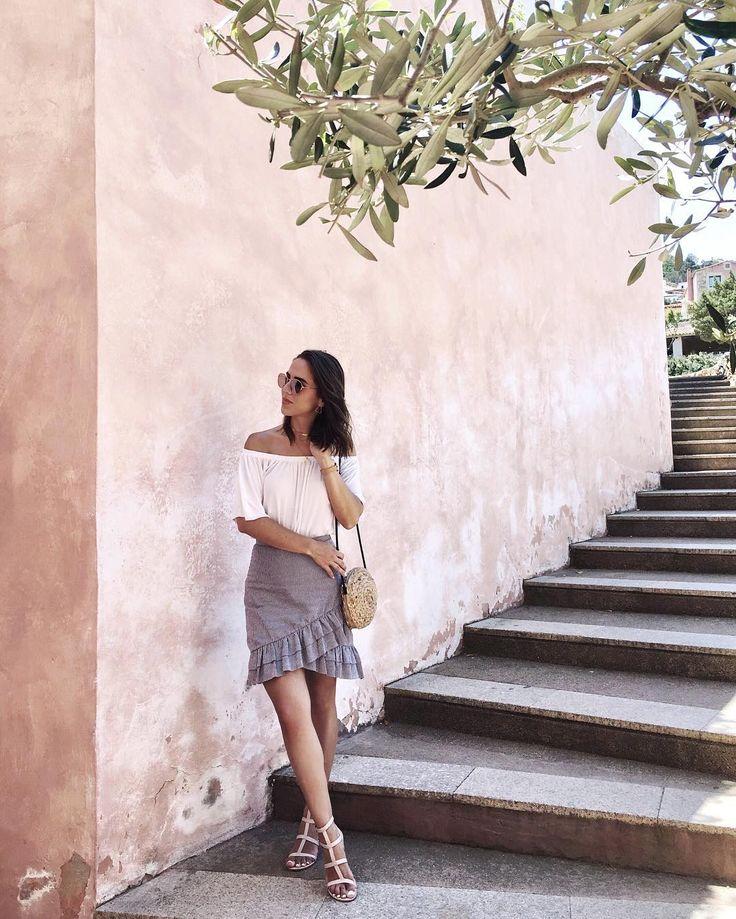 "pink Inspiration in Sardinia  ""Ruffles ruffles 🌿 #portocervo #sardinia #italy #ruffleskirt"""