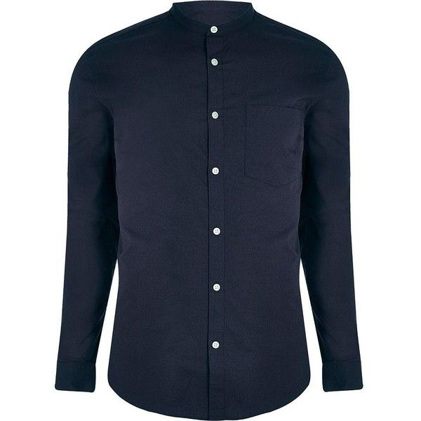 River Island Navy grandad collar slim fit shirt (£20) ❤ liked on Polyvore featuring men's fashion, men's clothing, men's shirts, men's casual shirts, navy, shirts, mens long sleeve shirts, old navy mens shirts, mens casual button down shirts and mens navy button down shirt