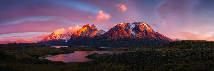 Wake - After several days of traveling through Torres del Paine and after seeing beautiful landscapes with Marjorie, we decided to wait one of the last sunrise of our trip at the viewpoint of Nordenskjold Lake, a place that had known previous days and that gave us beautiful lights.  This view is the result of the union of 8 images in order to achieve capture the vastness of this beautiful cordon of Patagonian mountains.  Music to accompany: https://www.youtube.com/watch?v=BgLRlQVx_BI…