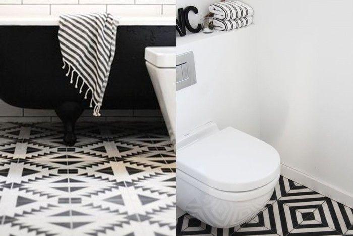 Bathroom Palette: black & white tiles.  [Selection of bathroom images depending on colour shades] ITA: Il bagno in bianco e nero - galleria di immagini