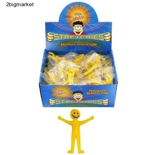 20 Stretchy Smiley Men Mini Yellow Kids Party Children Gift Funny Indoor Toy