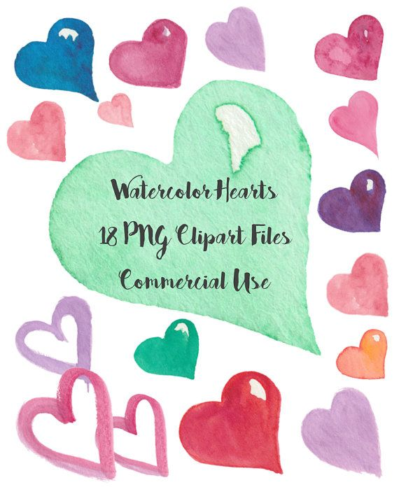 Watercolor Hearts Clipart 18 images 600 DPI by LostCoastElements