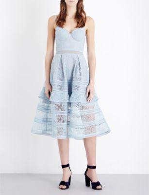 SELF-PORTRAIT Paisley lace midi dress
