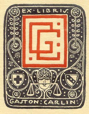 ≡ Bookplate Estate ≡ vintage ex libris labels︱artful book plates - Exlibris for Gaston Cerlin, (c. 1910)