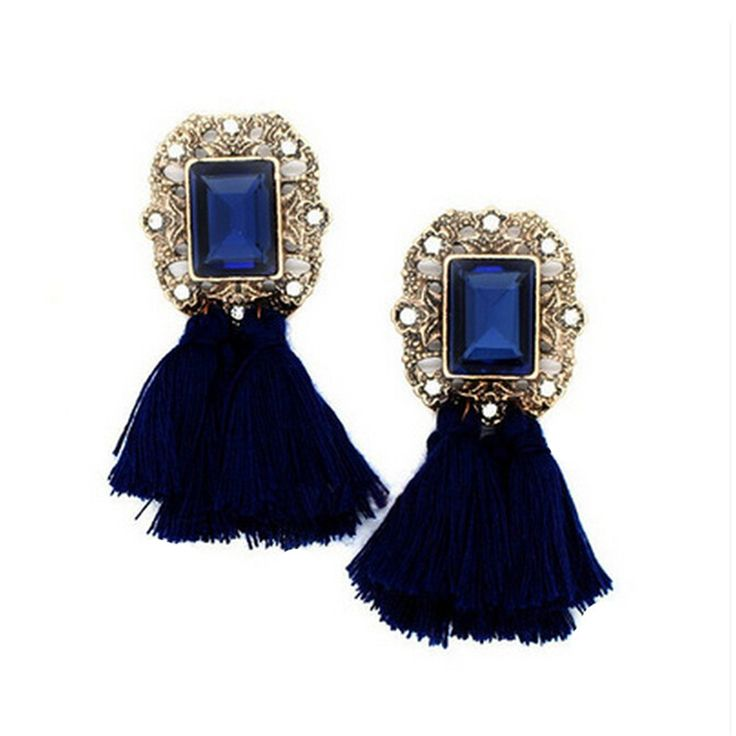 Fashion Geometric Caddice National Style Imitation Crystal Earring Imitation Gemstones  Tassel Earrings CC2936
