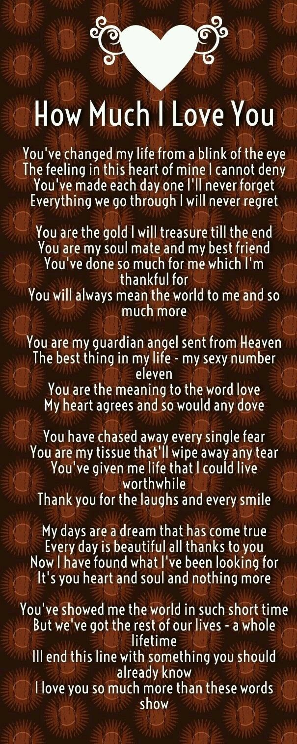 beautiful lines for5th wedding anniversary%0A How Much I Love You Poems  Quotes Square I love you Elizabeth