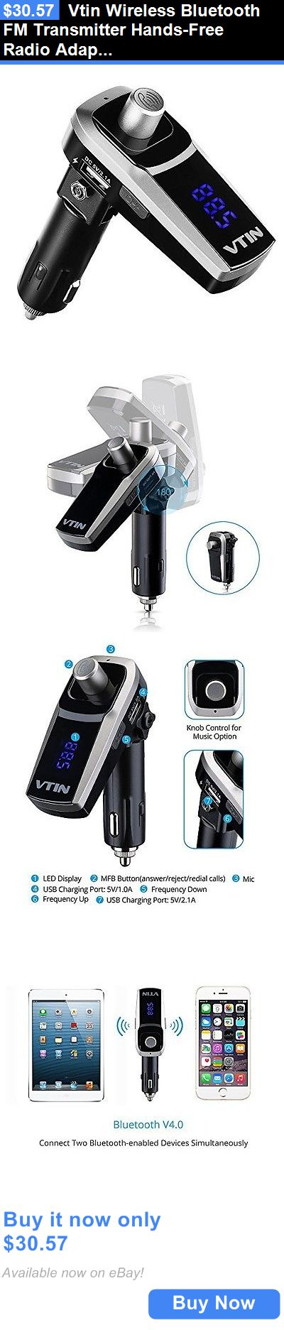 FM Transmitters: Vtin Wireless Bluetooth Fm Transmitter Hands-Free Radio Adapter Car Kit With BUY IT NOW ONLY: $30.57